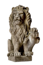 Vintage Garden Isolated Carved Stone Lion Gate Guardian