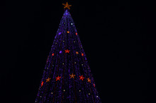 A Giant Glittering Christmas Tree Against The Dark Night Sky. New Year Garlands Stars Sparkle. Low View Angle.