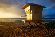 Lifeguard Tower At Sunset Beach In Oahu, Hawaii