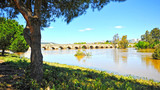 Roman bridge of Merida over Guadiana river. World Heritage City by Unesco, Extremadura, Spain.