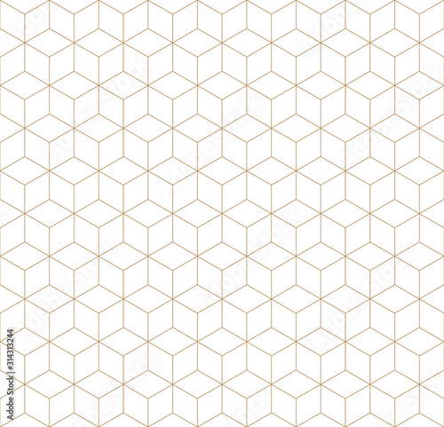 Fotografía  Seamless geometric pattern in golden and white.Fine lines.