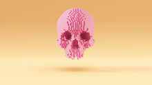 Pink Skull Pixel Cubes With Wa...