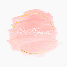 Pastel Watercolor Pink Logo Design Background With Golden Round Frame - Vector.