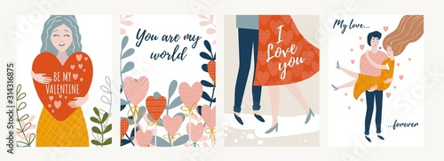 Photographie Collection of festive valentines day cards vector illustration