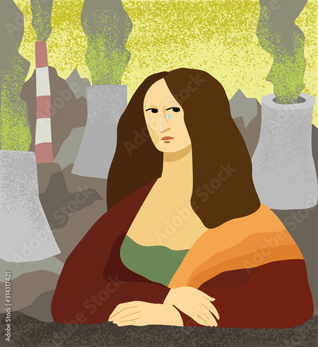 Obraz Flat hand drawn crying woman and working plant emitting toxic smoke on the back. Female portrait in Mona Lisa style. Ecological problem illustration - fototapety do salonu