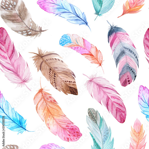 Fotomural Watercolor feathers seamless pattern