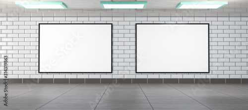Fototapeta two horizontal billboard frames as mockup, rendered in 3D obraz