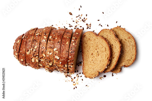 A loaf of sliced bread with oats and flax seeds Fototapeta