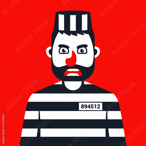 Photo angry criminal in prison striped uniform