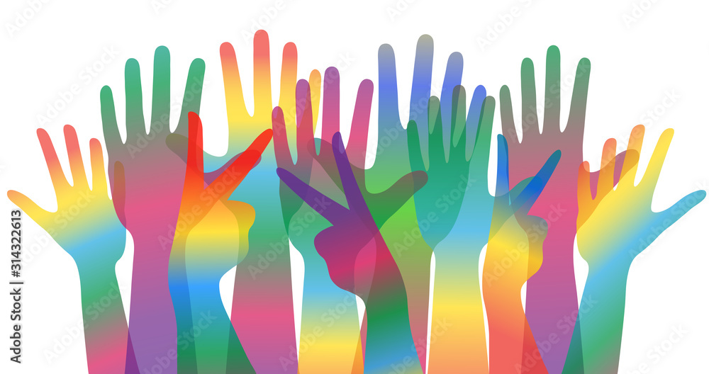 Fototapeta world day of cultural diversity concept banner or poster with many colorful human hands, stock vector illustration