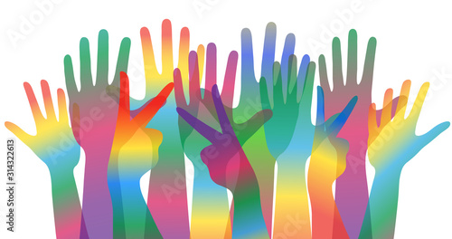 world day of cultural diversity concept banner or poster with many colorful human hands, stock vector illustration