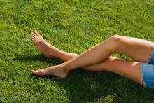 Young Woman Beautiful Legs Whi...