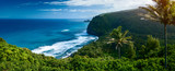 Panorama of the northern coast of the Big Island with steep green cliffs and blue Pacific Ocean, Hawaii