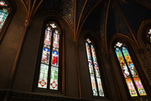 Stained Glass Windows Of A Private Chapel In A A Medieval Castle. Three Windows.