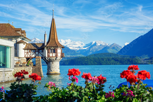 Oberhofen castle on Lake Thun, Switzerland, Alps mountains Canvas Print