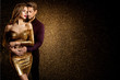 canvas print picture - Couple Beauty Portrait, Dreaming Beautiful Woman in Gold dress embracing Elegant Man, Love concept