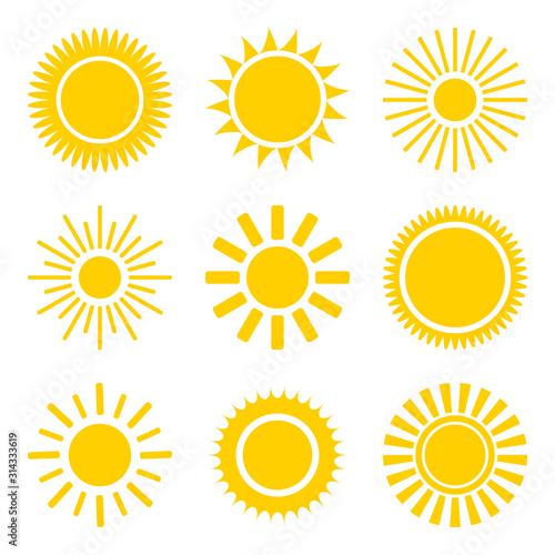 Fototapeta sun icons set. Flat shining symbols collection. Daylight logos obraz