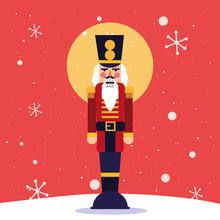 Merry Christmas Nutcracker And Snowflakes Vector Design