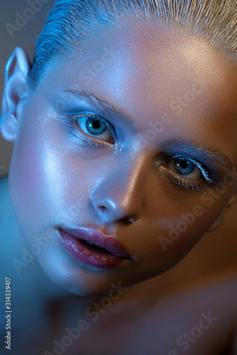 Photo  Artistic photo of a girl with winter make-up