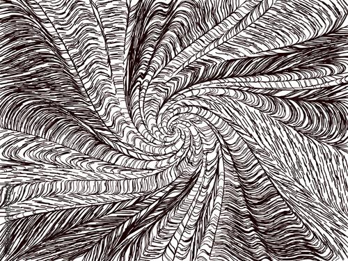 Fotografie, Tablou  Vector Generative Art Twisted Pattern - Black and White OpArt Filamentous Graphi
