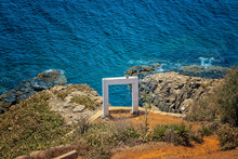 White Gate Or Wedding Arch On A Large Cliff High Above The Sea On Goree Island, Senegal. It's Near Dakar, Africa
