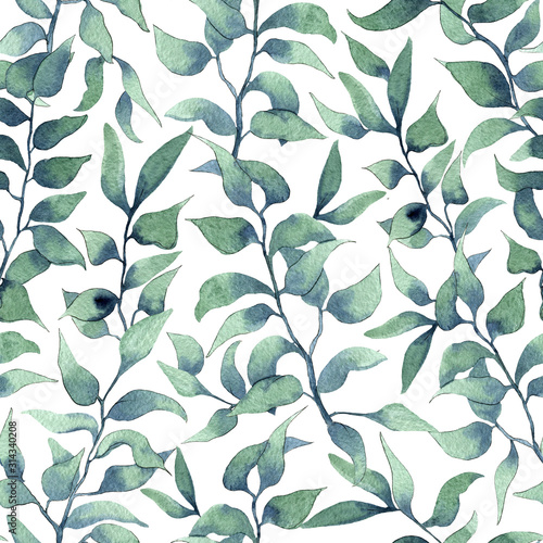 Watercolor leaves pattern on white background. Seamless pattern with hand dra...