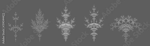 Obraz na plátně  Set of Vector Dendritic Self-Contacting Design - Plant Like L-system Mathematica