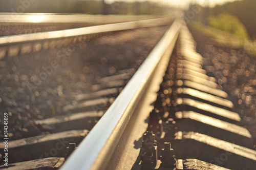 Foto Railroad closeup. rails blurred background