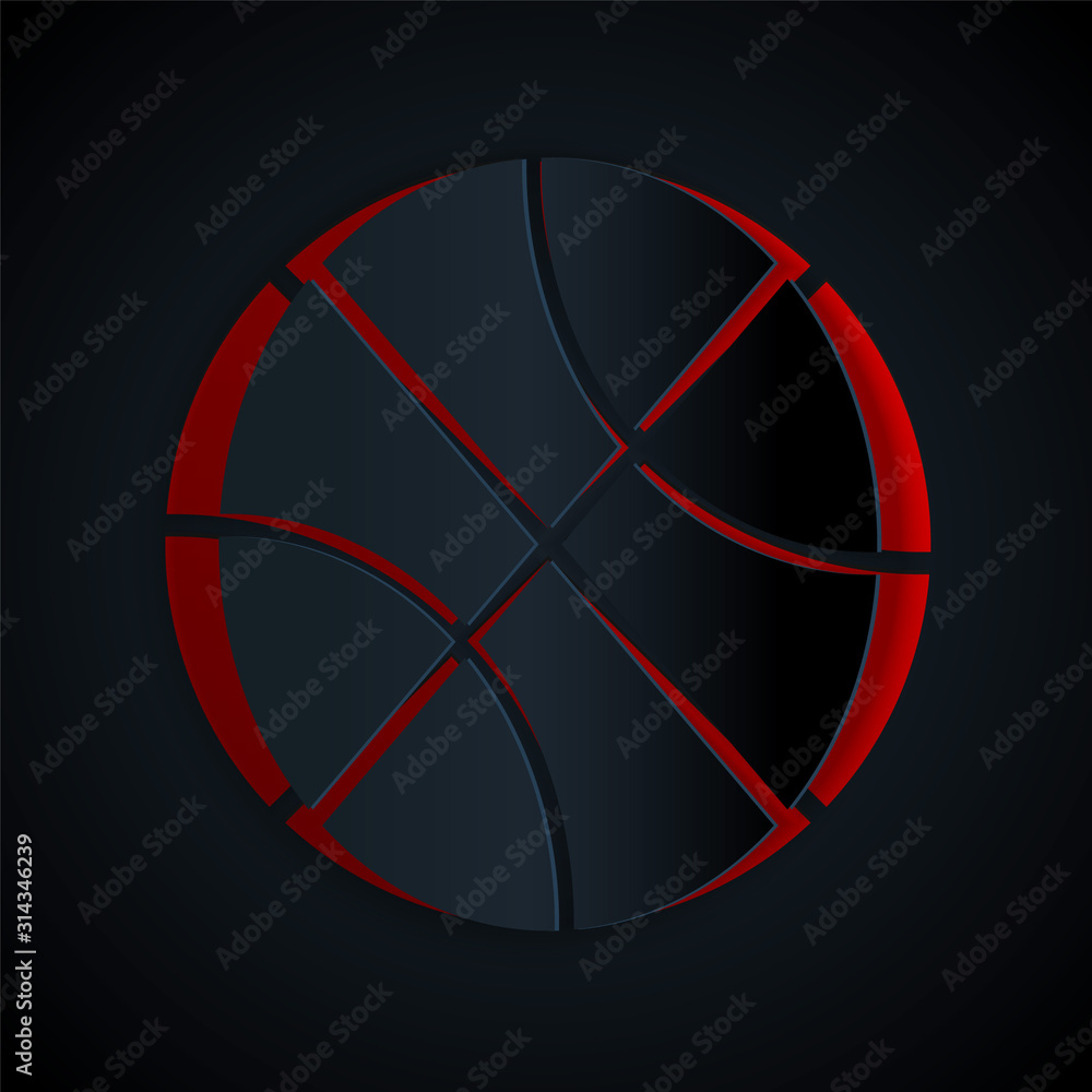 Paper cut Basketball ball icon isolated on black background. Sport symbol. Paper art style. Vector Illustration
