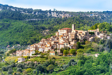 General View Of Le Bar-sur-Loup Village In Southeastern France.