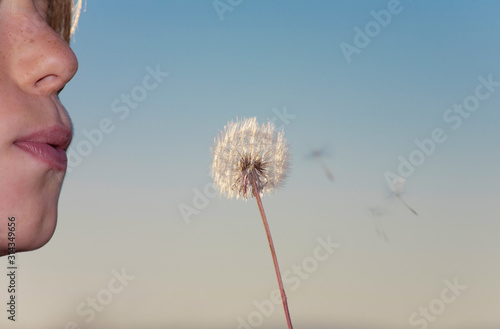 Fototapeta Young girl blowing a dandelion at sunset. Close up of the face detail and the dandelion flower with clear sky background obraz