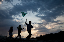 Children Run With Kite On Summ...