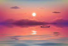 Pink Ocean Sunset Vector Illus...