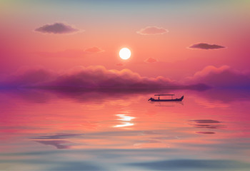 Panel Szklany Romantyczny Pink ocean sunset vector illustration with black lonely fishing boat silhouette, purple clouds and reflection in calm wavy water