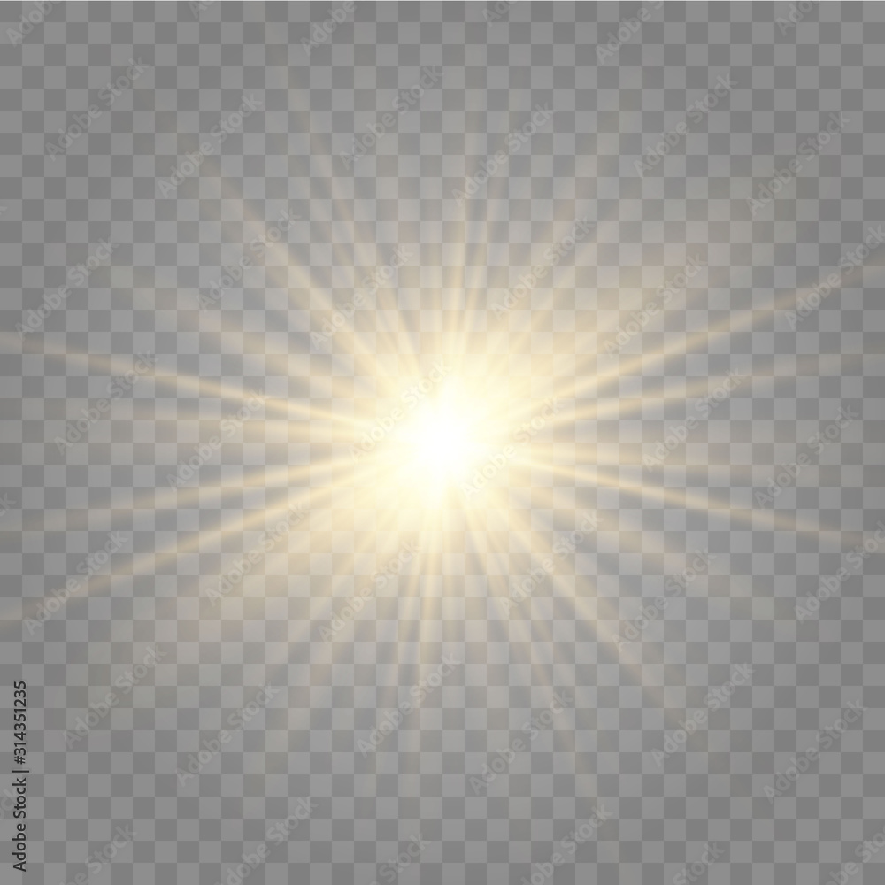 Fototapeta Abstract golden front sun lens flare translucent special light effect design. Vector blur in motion glow glare. Isolated transparent background. Decor element. Horizontal star burst rays and spotlight