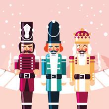 Merry Christmas Nutcrackers Vector Design