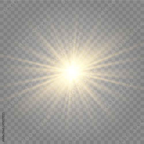 Fototapeta Abstract golden front sun lens flare translucent special light effect design. Vector blur in motion glow glare. Isolated transparent background. Decor element. Horizontal star burst rays and spotlight obraz