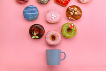 Colorful Donuts With Icing And...