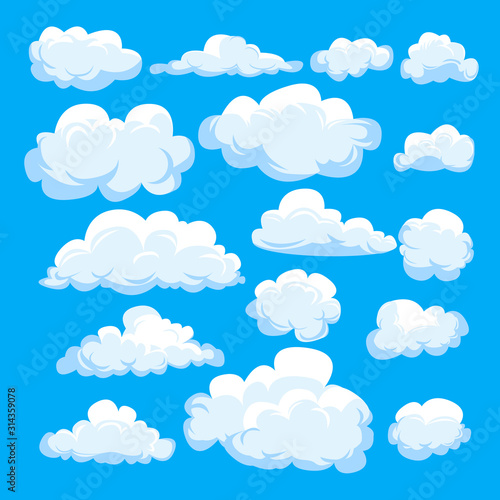 Set of different cartoon clouds isolated on blue sky. Weather symbolic graphics for illustration, web design, poster, site, app.