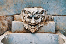 Gargoyle Head On Fountain
