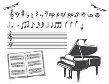 ピアノ、音符の素材イ...
