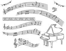ピアノ、音符の素材イラスト(手書き風)