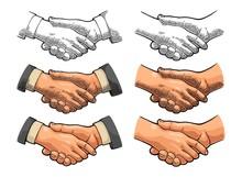 Handshake. Vector Color Vintag...
