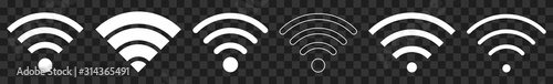 Fotomural  Wireless White | Internet Connection | Signal Icon | Transparent Variations