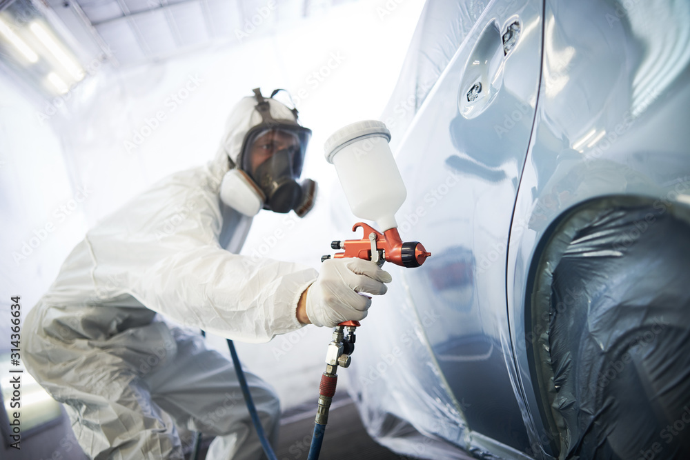 Fototapeta car painting in chamber. automobile repair