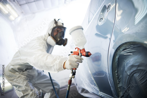 obraz PCV car painting in chamber. automobile repair