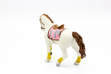 White Horse Toy Isolated On A White Background. Perfect For Baby Girl Toy Concept.