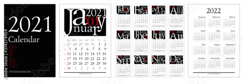 Roman Calendar 2022.Classic Gregorian Calendar For 2021 Year A4 Pages 210x297mm With Creative Font Composition Week Start Sunday Elegant Grid With Roman Type English Language Editable Vector Template Stock Vector Adobe Stock