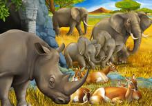 Cartoon Scene With Rhino Rhino...