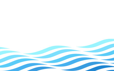 Abstract blue ocean wave lines abstract vector background